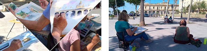 Pintando la Plaza de la Pescadería